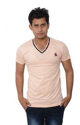 Lampara Solid Men's V-neck Orange T-Shirt