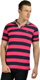 Ahhaaaa Striped Men's Polo Neck Pink T-S...