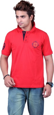 Counter Solid Men's Polo Neck Red T-Shirt