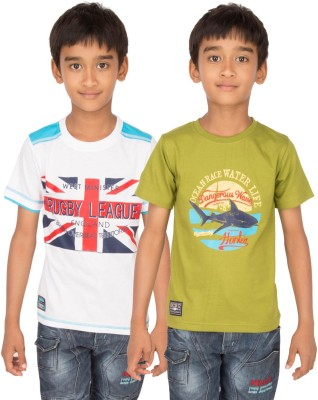 Ocean Race Graphic Print Boy's Round Neck White, Green T-Shirt