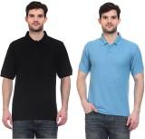 Blue-Tuff Solid Men's Polo Neck Black, L...