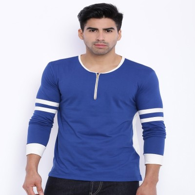Le Bison Solid Men's Round Neck Blue T-Shirt