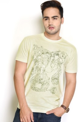 The Glu Affair Printed Men's Round Neck Yellow T-Shirt