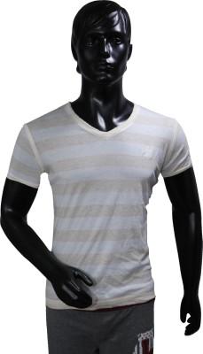 Starsy Striped Men's V-neck White T-Shirt