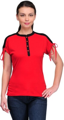 Stilestreet Solid Women's Round Neck Red T-Shirt