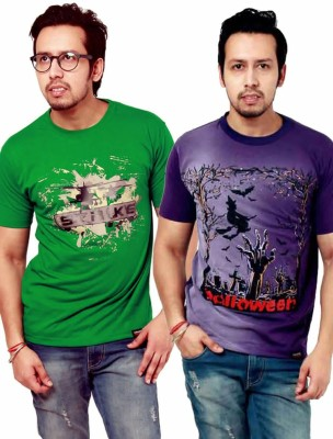 Crypticvoodoo Graphic Print Men's Round Neck Green, Purple T-Shirt