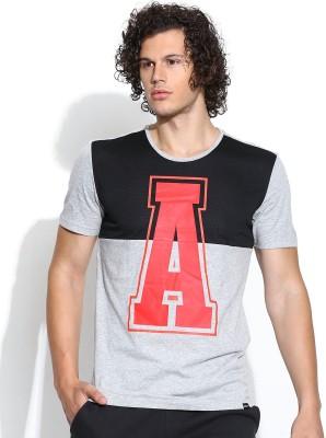 Adidas NEO Printed Men's Round Neck Grey T-Shirt
