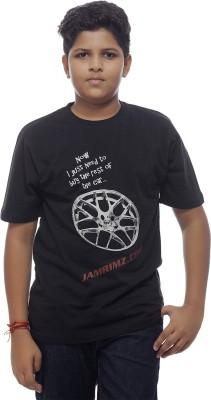 Redesign Printed Boy's Round Neck Black T-Shirt