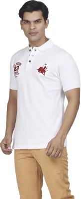 Fazator Embroidered Men's Polo Neck White T-Shirt
