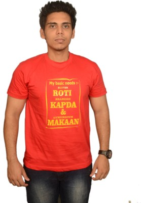 College Jugaad Printed Men's Round Neck Red T-Shirt
