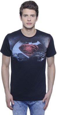 DAWN OF JUSTICE Printed Men,s Round Neck Black T-Shirt