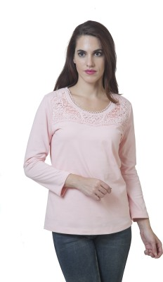 Rute Embellished Women's Round Neck Pink T-Shirt