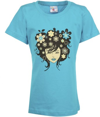 Crackles Printed Girl's Round Neck Blue T-Shirt