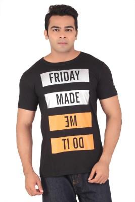 Radbone Printed Men's Round Neck Black T-Shirt