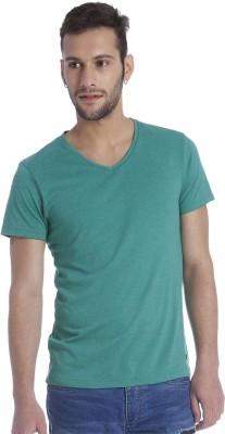 Jack & Jones Solid Men's V-neck Green T-Shirt
