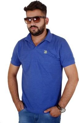 MjString Solid Men's Flap Collar Neck Blue T-Shirt