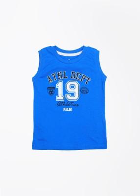 Palm Tree Printed Boy's Round Neck Blue T-Shirt