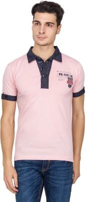 V9 Self Design Men's Polo Neck Pink T-Shirt