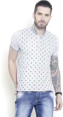 Metal Gear Printed Men's Polo Neck Grey T-Shirt