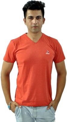Sparkk Solid Men's V-neck Orange T-Shirt