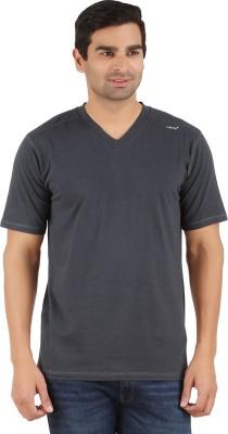 Lavos Solid Men's V-neck Grey T-Shirt
