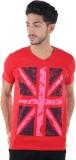 Burdy Printed Men's V-neck Red T-Shirt