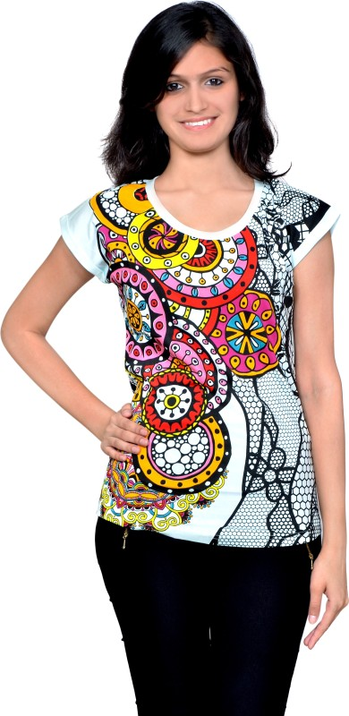 Gee & Bee Printed Women's Round Neck Multicolor T-Shirt