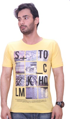Qubic Printed Men's Round Neck Yellow T-Shirt