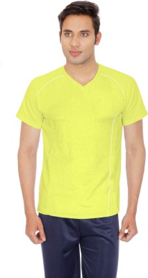SPORTEE Solid Men's V-neck Yellow T-Shirt