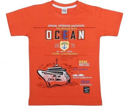 Kyle Graphic Print Baby Boy's Round Neck Orange T-Shirt