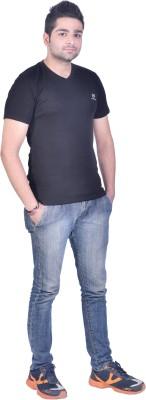 Colors and Blends Solid Men,s V-neck Black T-Shirt