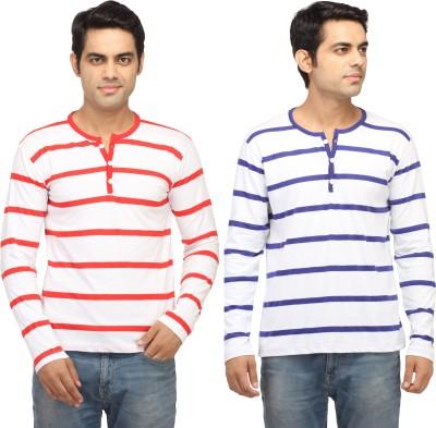 Leana Striped Men,s Fashion Neck Blue, Red T-Shirt