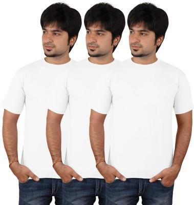 EagleBuzz Solid Men's Round Neck White T-Shirt