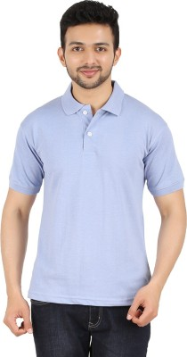 Garudaa Garments Solid Men's Polo Neck Blue T-Shirt