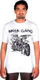 Bikergang Printed Men's Round Neck White...