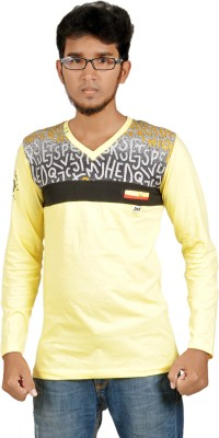 Harsha Printed Men's V-neck Yellow T-Shirt