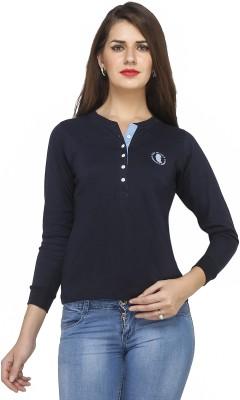 Run of luck Solid Women's Henley Blue T-Shirt
