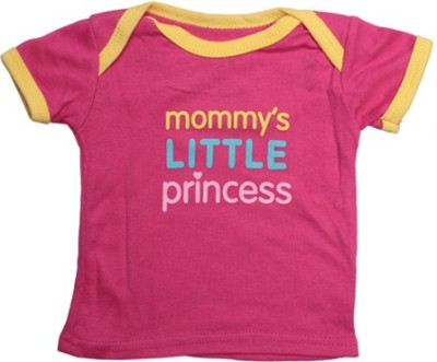 Luvable Friends Printed, Solid Baby Girl's Boat Neck Pink, Yellow T-Shirt