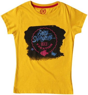 SuperYoung Printed Girl's Round Neck Yellow T-Shirt