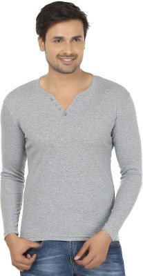 Fashcom Solid Men's Henley Grey T-Shirt