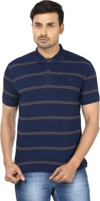 Wills Striped Men's Polo Neck Blue, Grey T-Shirt