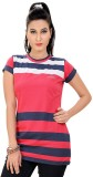 Mint Striped Women's Round Neck Pink T-S...