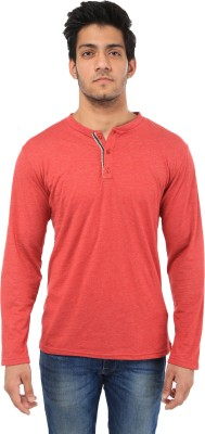 Five Stone Solid Men's Henley Red T-Shirt