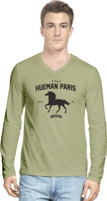 Hueman Printed Men's V-neck Beige T-Shirt