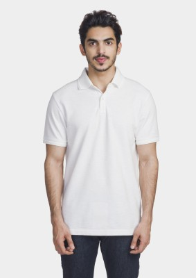 Bhane Solid Men's Polo Neck White T-Shirt