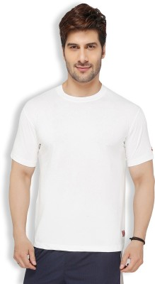 Live In Solid Men's Round Neck White T-Shirt