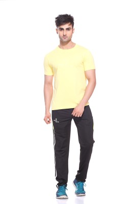 Sport Sun Solid Men's Round Neck Yellow T-Shirt