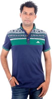 Brandwear Printed Men's Polo Neck Dark Blue T-Shirt