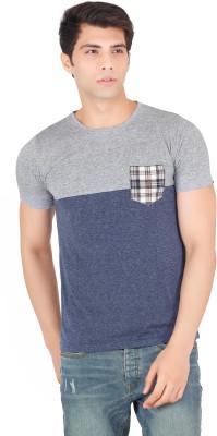 Webmachinez Solid Men's Round Neck Blue T-Shirt