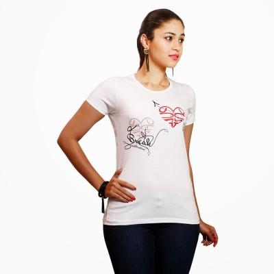 Yaari V4c Self Design Women's Round Neck White T-Shirt